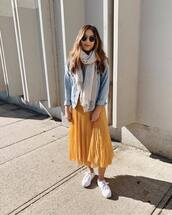 shoes,white sneakers,midi skirt,yellow skirt,wrap ruffle skirt,denim jacket,scarf,round sunglasses