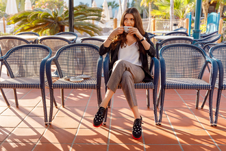 the mysterious girl blogger jacket tank top pants shoes grey pants blazer camisole oxfords