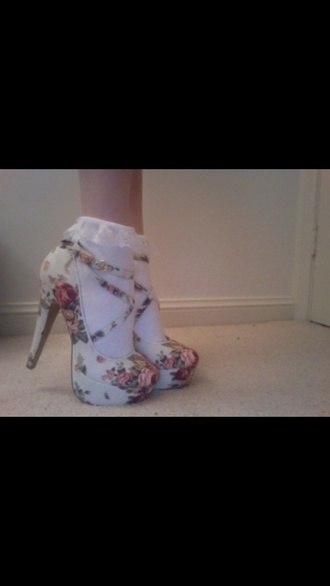 shoes white floral print high heels floral high heels white