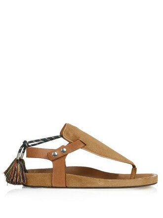 tassel sandals suede tan shoes