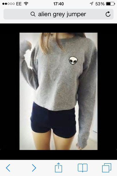 sweater grey alien