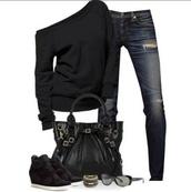 sweater,black,shoes,fall sweater,jeans,black sweater,oversized sweater,off the shoulder sweater,hole jeans,dark denim,pants,bag,black tote bag,blouse,fashion,shirt