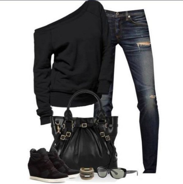 sweater black shoes fall sweater jeans black sweater oversized sweater off the shoulder sweater hole jeans dark denim pants bag black tote bag blouse fashion shirt