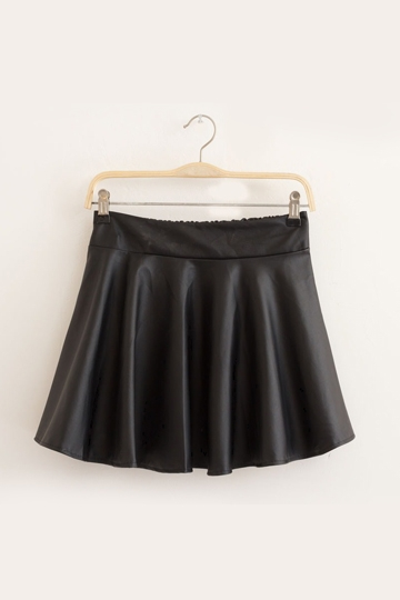 Chic PU Leather Frilly Mini Skirt [FMCC0180]- US$24.99 - PersunMall.com