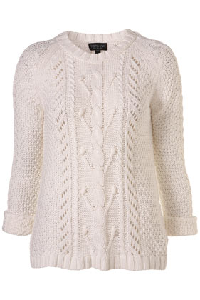 Knitted off white cotton cable jumper