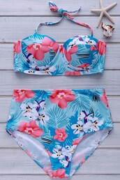 swimwear,zaful,high waisted,high waisted bikini,bikini,strapless,floral,flowers,tropical,tropical swimwear,curvy,summer,push up bikini