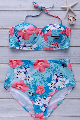 swimwear zaful high waisted high waisted bikini bikini strapless floral flowers tropical tropical swimwear curvy summer push up bikini