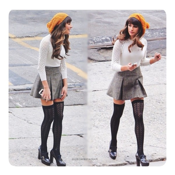 skirt knee high socks shoes orange beanie knitted beanie preppy grey skirt white sweater