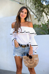 top,tumblr,white top,ruffle,off the shoulder,off the shoulder top,bell sleeves,denim,denim shorts,shorts,bag,handbag,belt