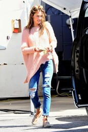 sweater,jumper,jeans,flats,alessandra ambrosio,ripped jeans,shoes