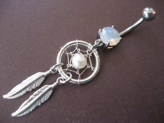Pearl dream catcher belly button jewelry ring by azeetadesigns