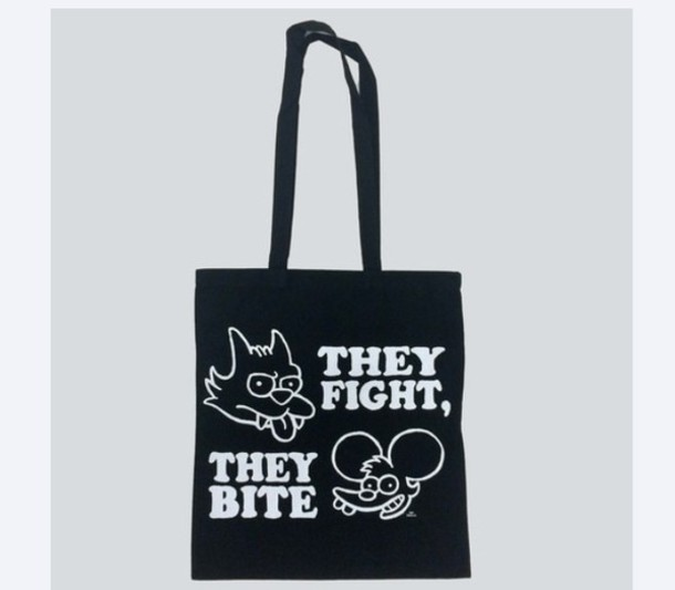 bag itchy and scratchy black drop dead clothing the simpsons drop dead clothing