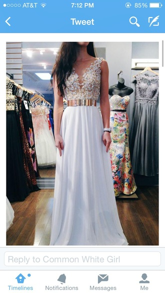 dress prom dress prom gold gold dress flowers white lace dress white dress long prom dress floral dress gold waistband a line dress cream lace top debs white prom dress prom beauty whit silver v neck v neck dress