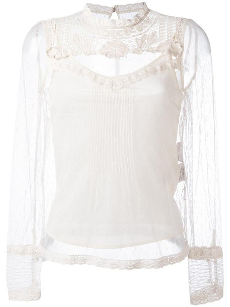RED VALENTINO blouse sheer blouse sheer women nude cotton silk top