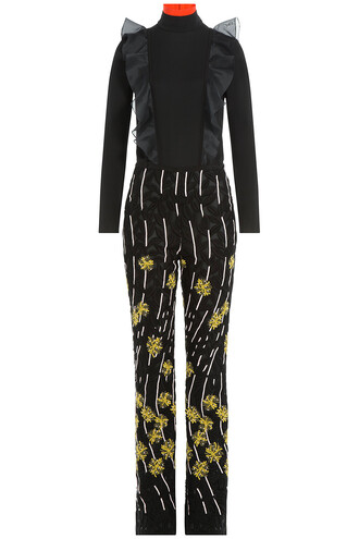 jumpsuit embroidered silk multicolor