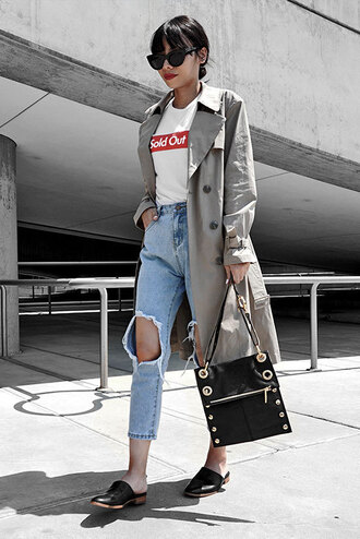 shoes white graphic t-shirt grey trench coat distressed denim jeans black mules blogger studded black bag sunglasses