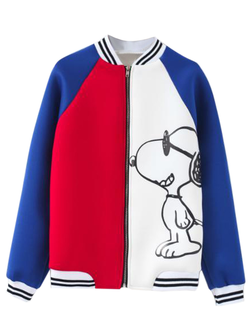 Contrast color bomber jacket with snoopy pattern