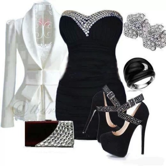 coat white jacket black and white black dress little black dress