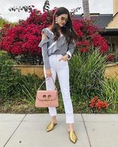 bag,pink bag,pants,white pants,top,striped top,asymmetrical,shoes,mules,gold shoes,handbag,asymmetrical top