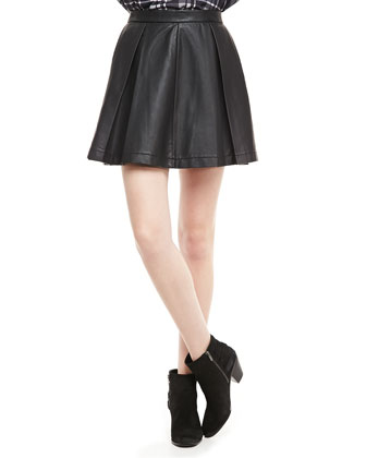 French Connection Athena Faux-Leather Circle Skirt - Neiman Marcus