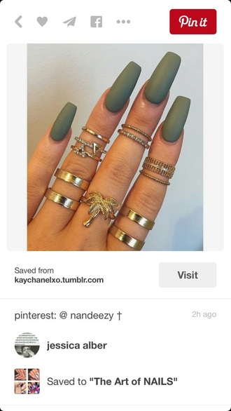 nail polish colorful nails nail accessories green army green gold ring gold rings and tings knuckle ring ring accessories