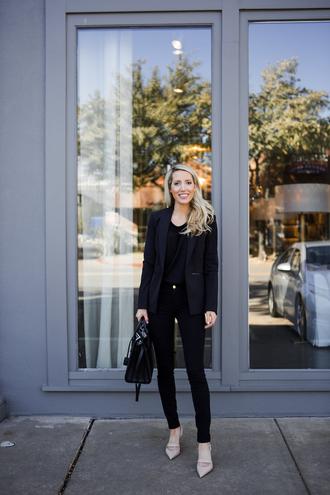 krystal schlegel blogger bag t-shirt jacket black jeans handbag black blazer blazer