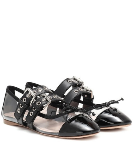 Miu Miu Leather ballet flats in black