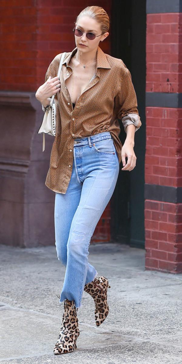 blouse denim jeans boots animal print gigi hadid