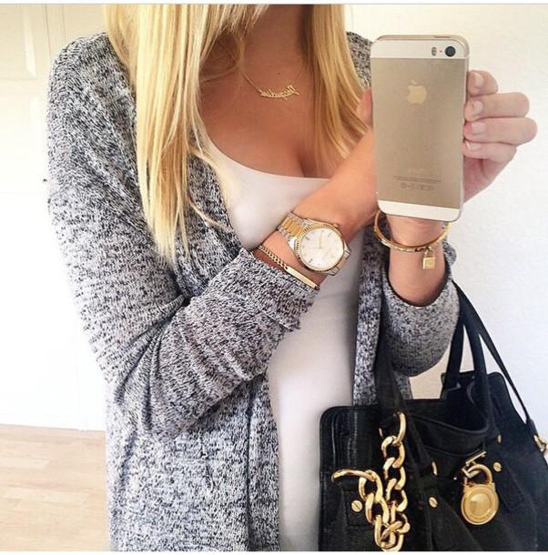 cardigan blogger grey sweater comfy instagram instagran jewels watch fashion bag handbag
