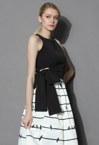 top chicwish crop tops black top sleeveless top bow top summer top chicwish.com