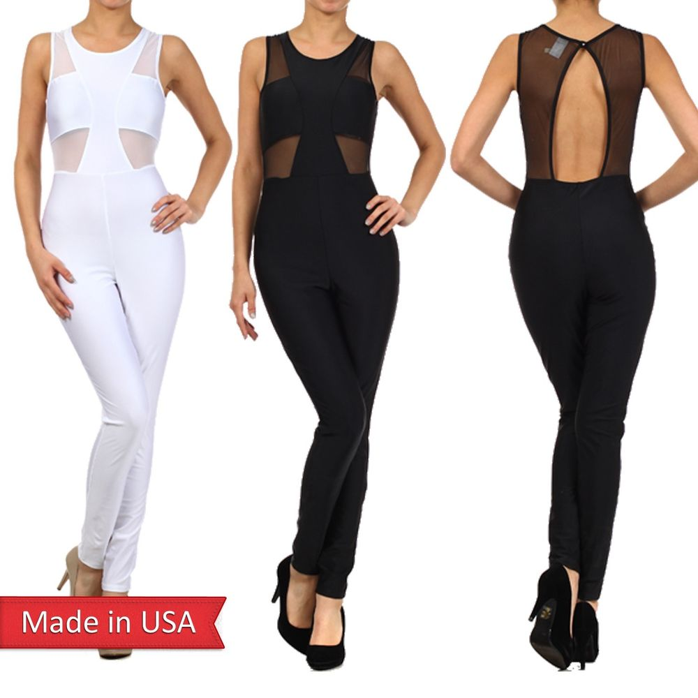 Sexy Fitted Sleeveless Mesh Detail Back Keyhole Closure Tank Jumpsuit Romper USA