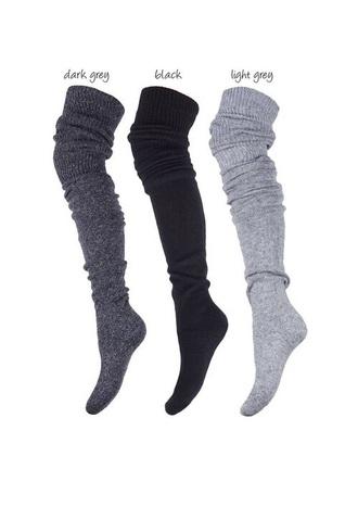 socks dark grey overknee socks