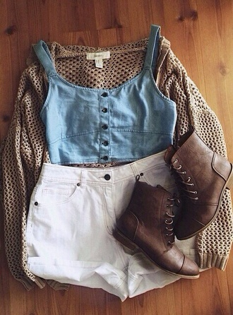 cardigan blouse shorts top tank top spring bustier denim buttons knit indie bohemian boho hippie hipster shoes earphones demin top strappy top