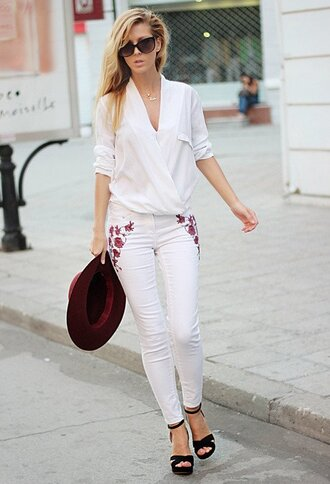 jeans sunglasses white shirt embroidered white jeans strappy black heels burgundy hat blogger