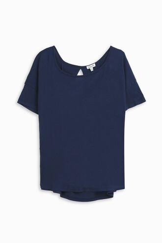 t-shirt shirt back open open back women navy top