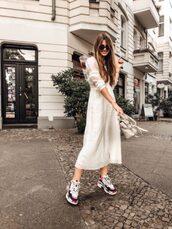 dress,white dress,midi dress,casual dress,sneakers,sunglasses,long sleeves
