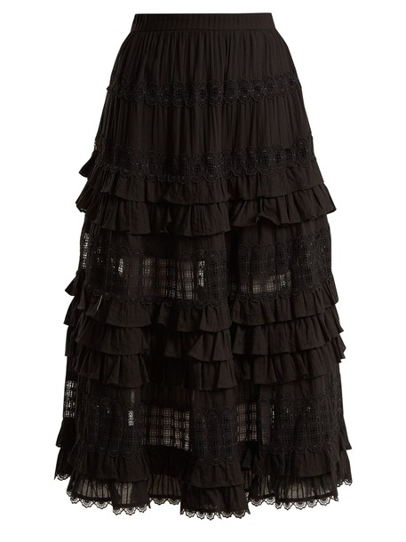 Zimmermann skirt ruffle lace cotton black