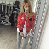 jacket,bomber jacket,red,red and black jacket,black and red,adidas,adidas jacket,coat