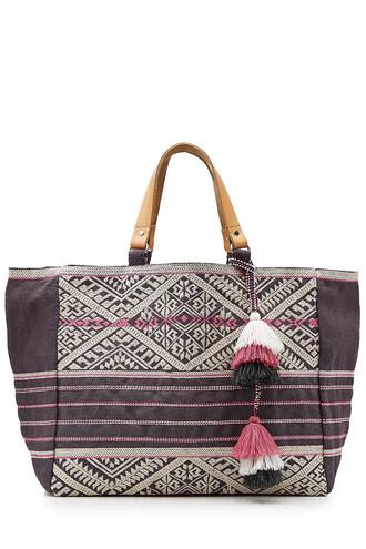embroidered grey bag