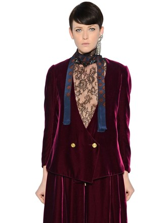 jacket double breasted velvet purple red