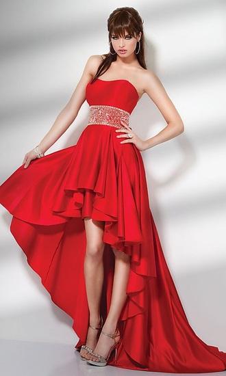 dress red prom dresses high low dress