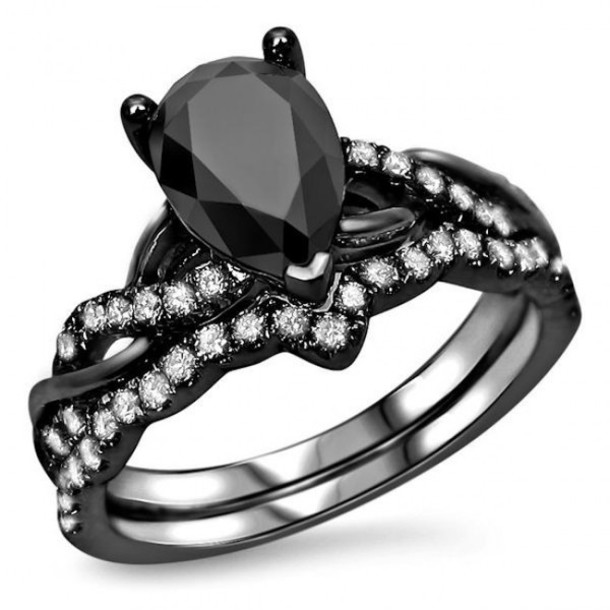 Jewels Ring Set Evolees Com Pear Cut Diamond Ring Set Black
