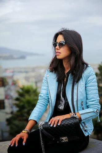 viva luxury jacket pants shoes bag jewels nail polish blue jacket leather jacket
