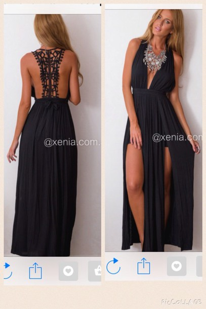 dress black maxi dress prom debs backless le