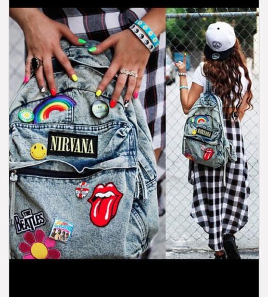 acid wash bag backpack badges