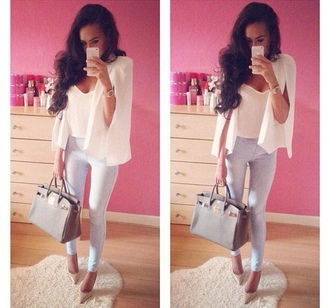 jacket iphone white fashion jeans blue bag pink brunette luxury fashionable heels style pants