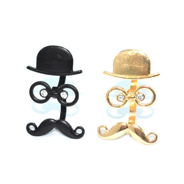 HAT AND GLASSES WITH MOUSTACHE DOUBLE RINGS - Rings & Tings | Online fashion store | Shop the latest trends