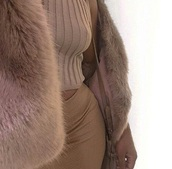 coat,brownish furry coat,fur,furry coat,tan,top,nude,beige,nude crop top,skirt,brownish,long skirt,maxi skirt
