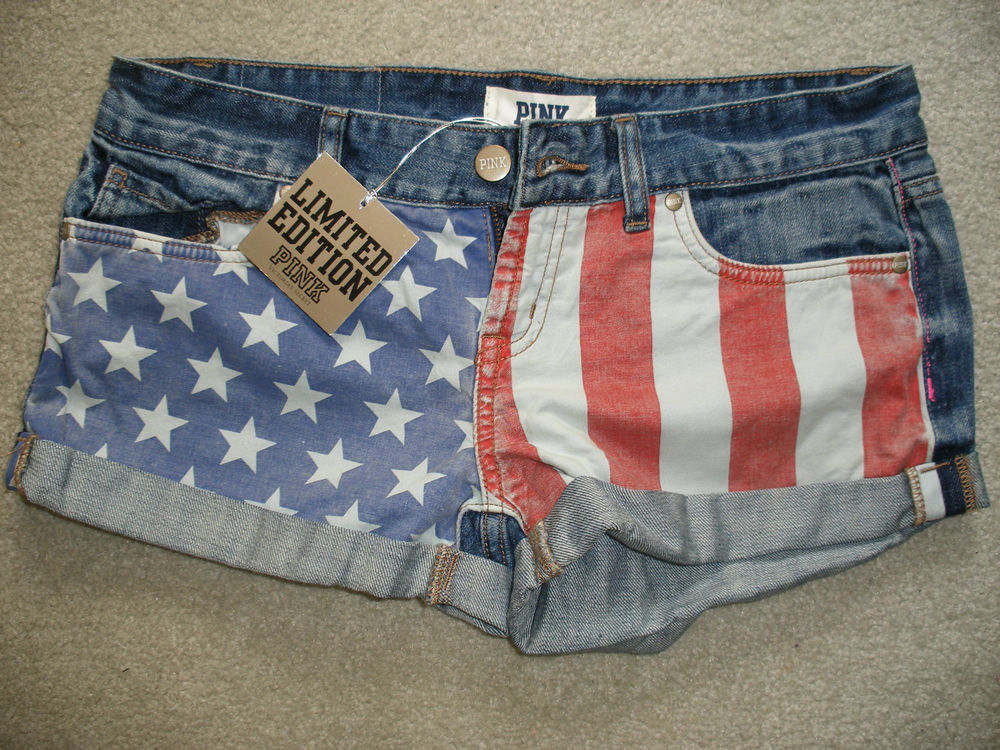 Victoria Secret Pink ♥ Limited Edition American Flag Denim Shorts ♥ Size 4 | eBay