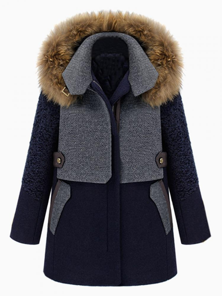 Colour Block Padded Coat With Fur Trimmed Hood | Choies